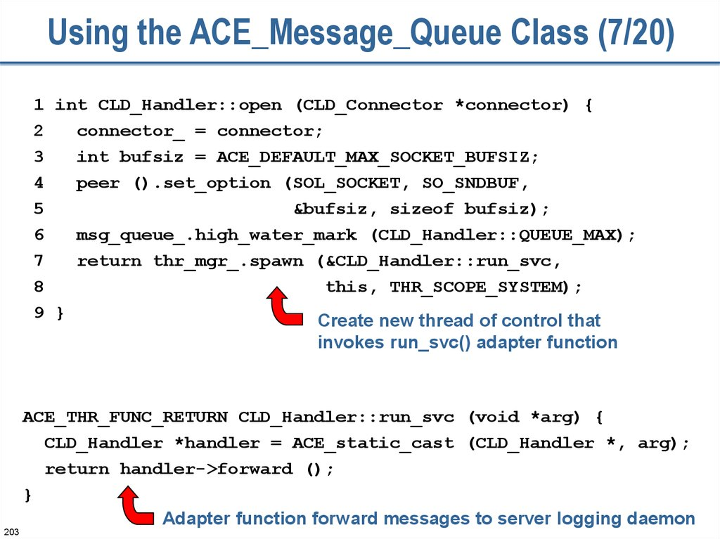 Using the ACE_Message_Queue Class (7/20)