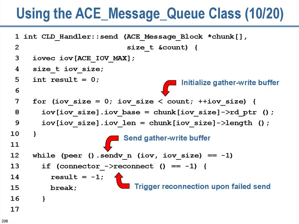 Using the ACE_Message_Queue Class (10/20)