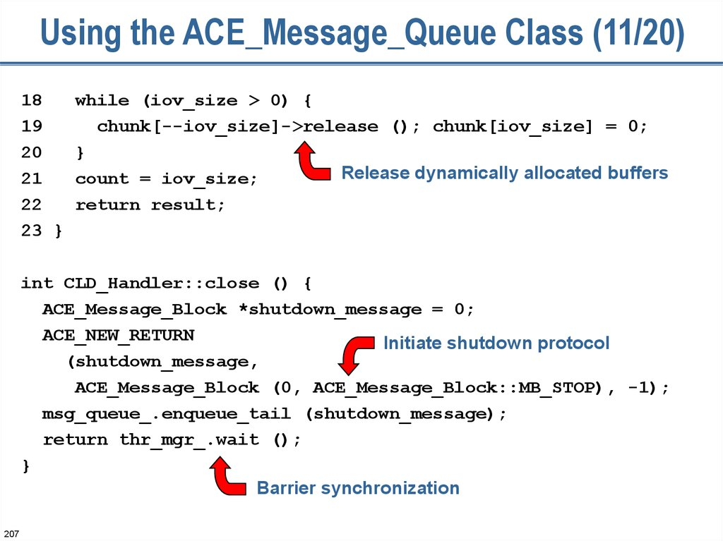 Using the ACE_Message_Queue Class (11/20)