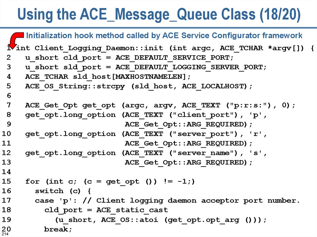 Using the ACE_Message_Queue Class (18/20)