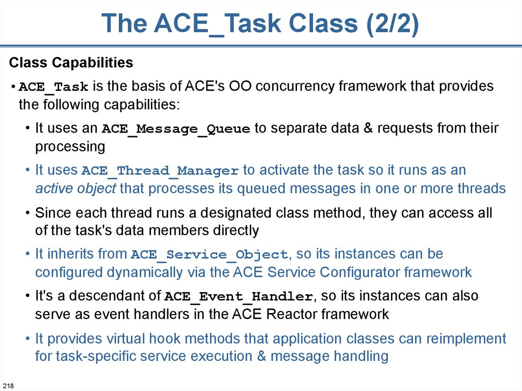 The ACE_Task Class (2/2)