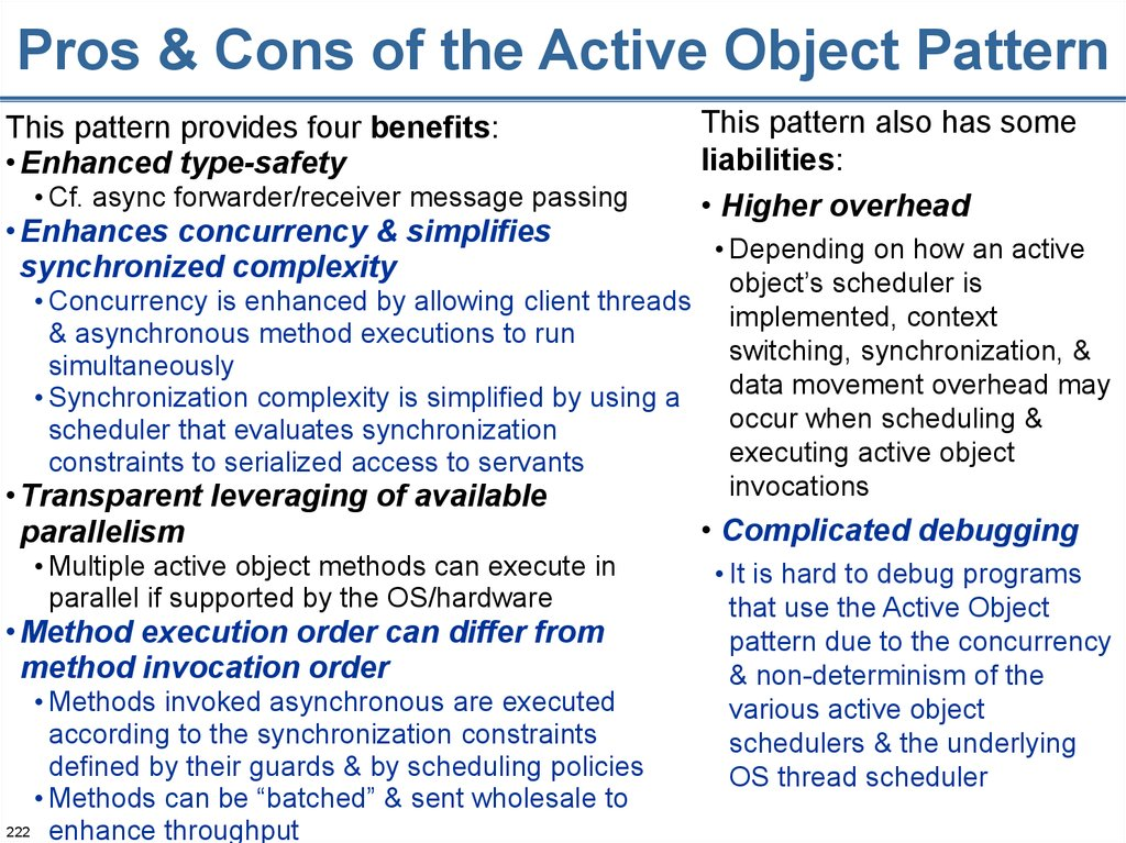 Pros & Cons of the Active Object Pattern
