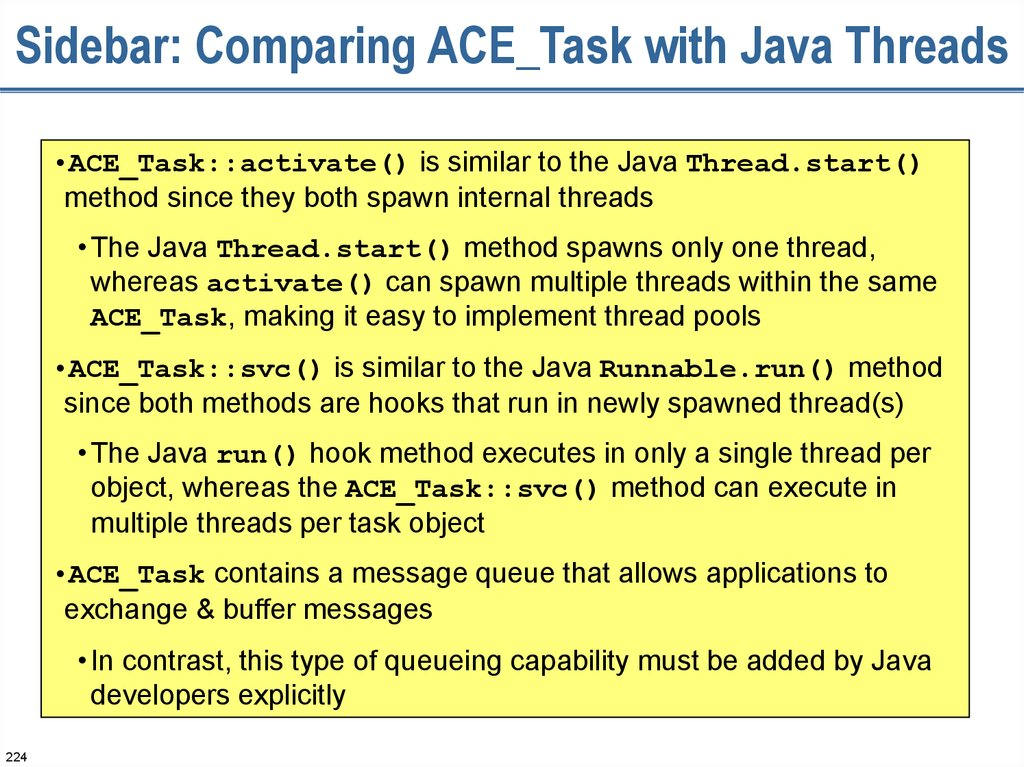 Sidebar: Comparing ACE_Task with Java Threads