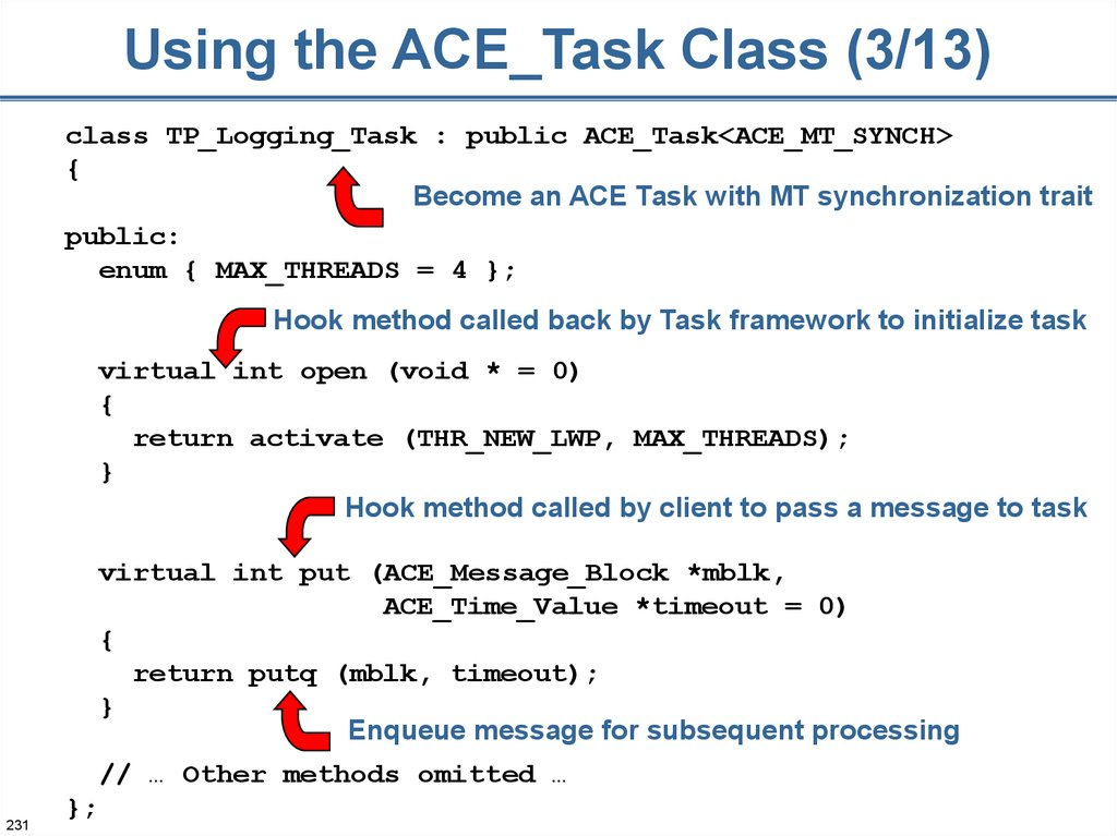 Using the ACE_Task Class (3/13)