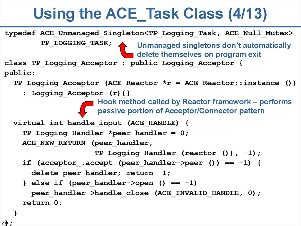 Using the ACE_Task Class (4/13)