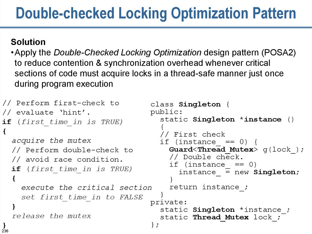 Double-checked Locking Optimization Pattern