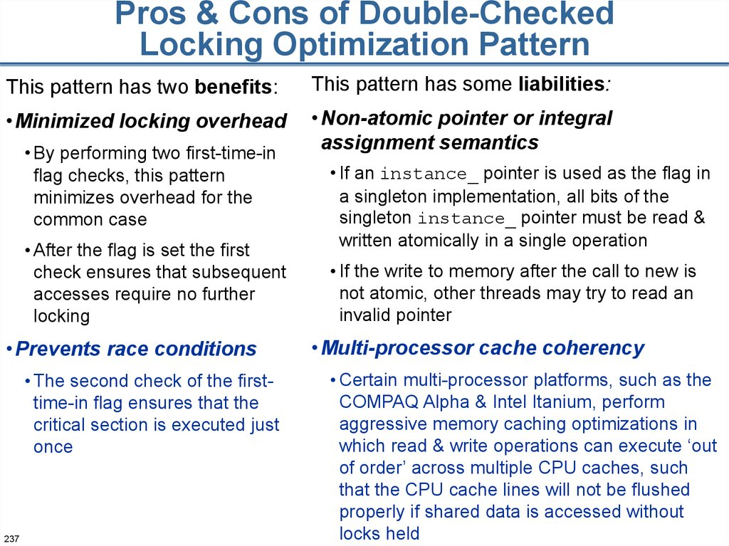 Pros & Cons of Double-Checked Locking Optimization Pattern