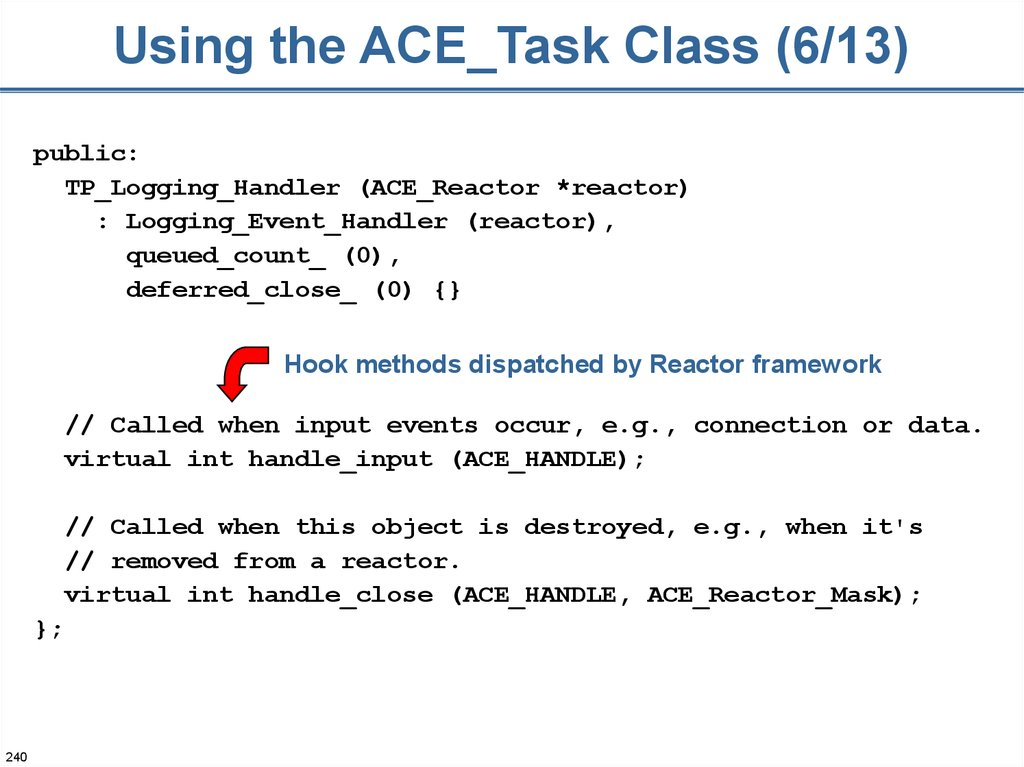 Using the ACE_Task Class (6/13)