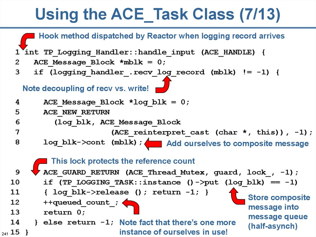 Using the ACE_Task Class (7/13)