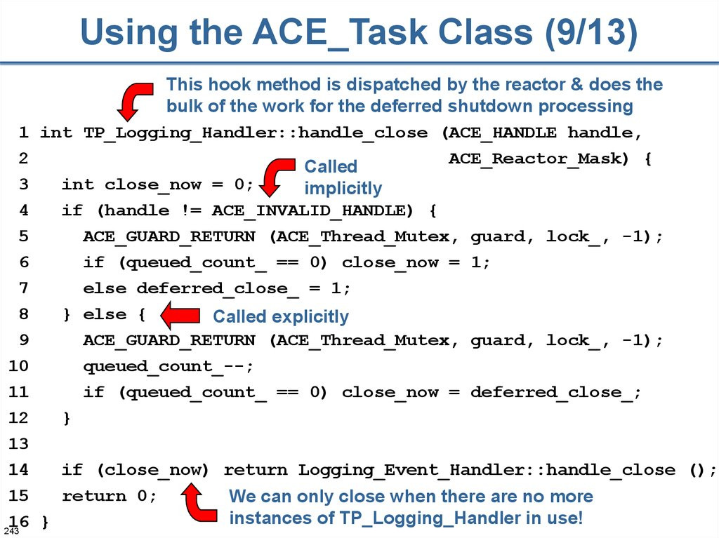 Using the ACE_Task Class (9/13)