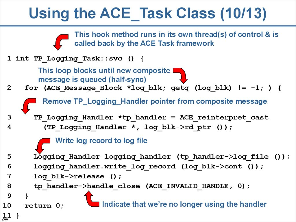 Using the ACE_Task Class (10/13)