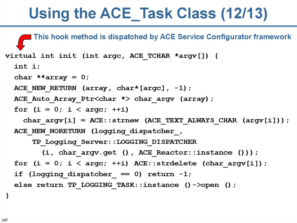 Using the ACE_Task Class (12/13)