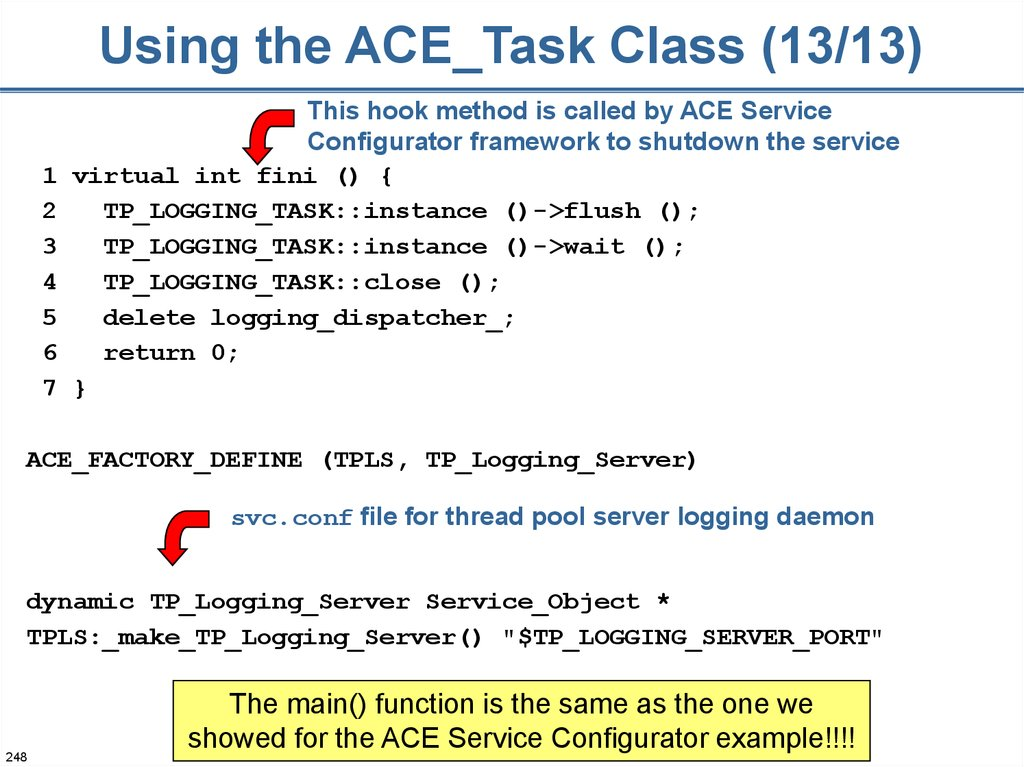 Using the ACE_Task Class (13/13)