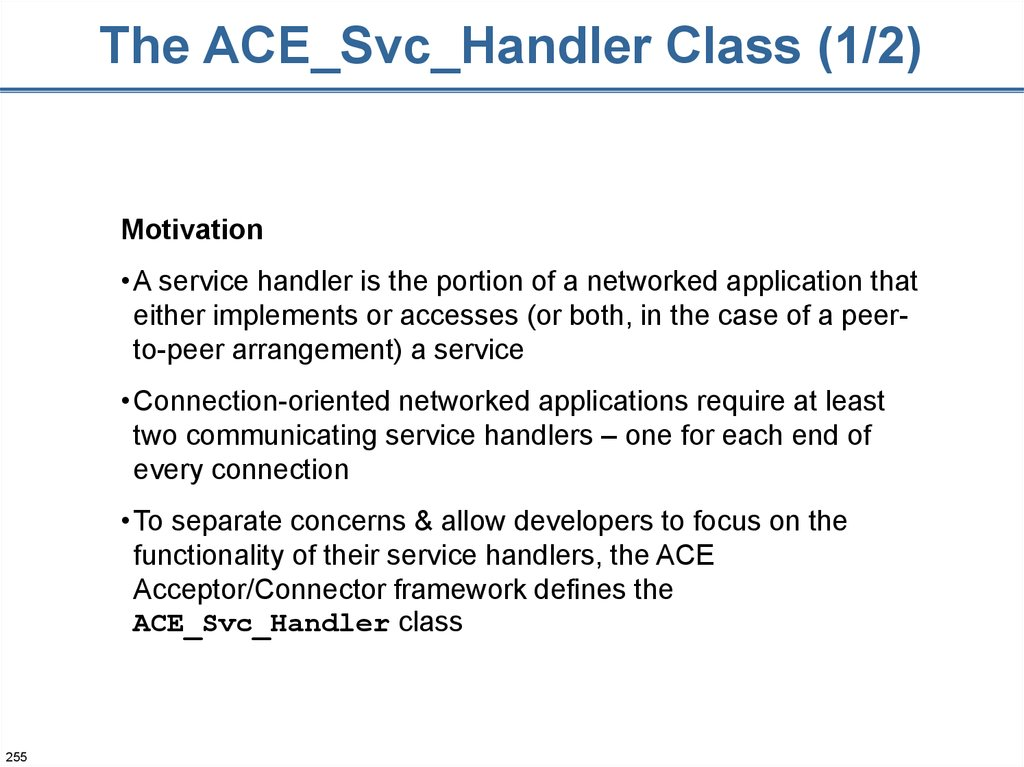 The ACE_Svc_Handler Class (1/2)