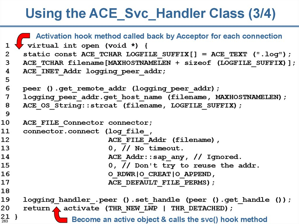 Using the ACE_Svc_Handler Class (3/4)