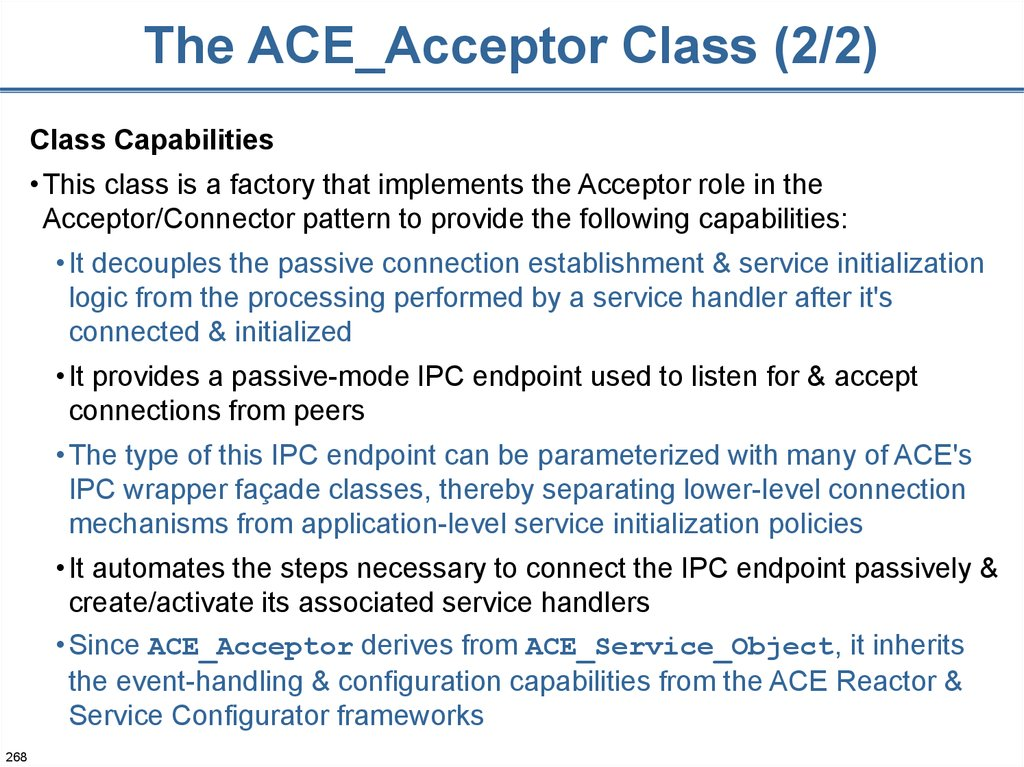 The ACE_Acceptor Class (2/2)