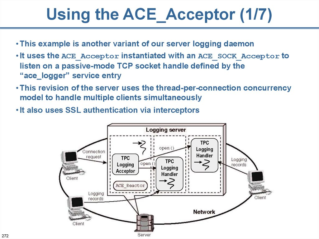 Using the ACE_Acceptor (1/7)