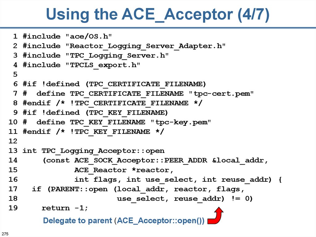 Using the ACE_Acceptor (4/7)