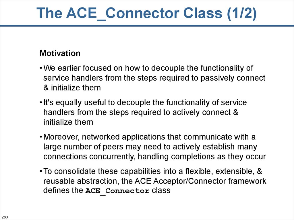 The ACE_Connector Class (1/2)