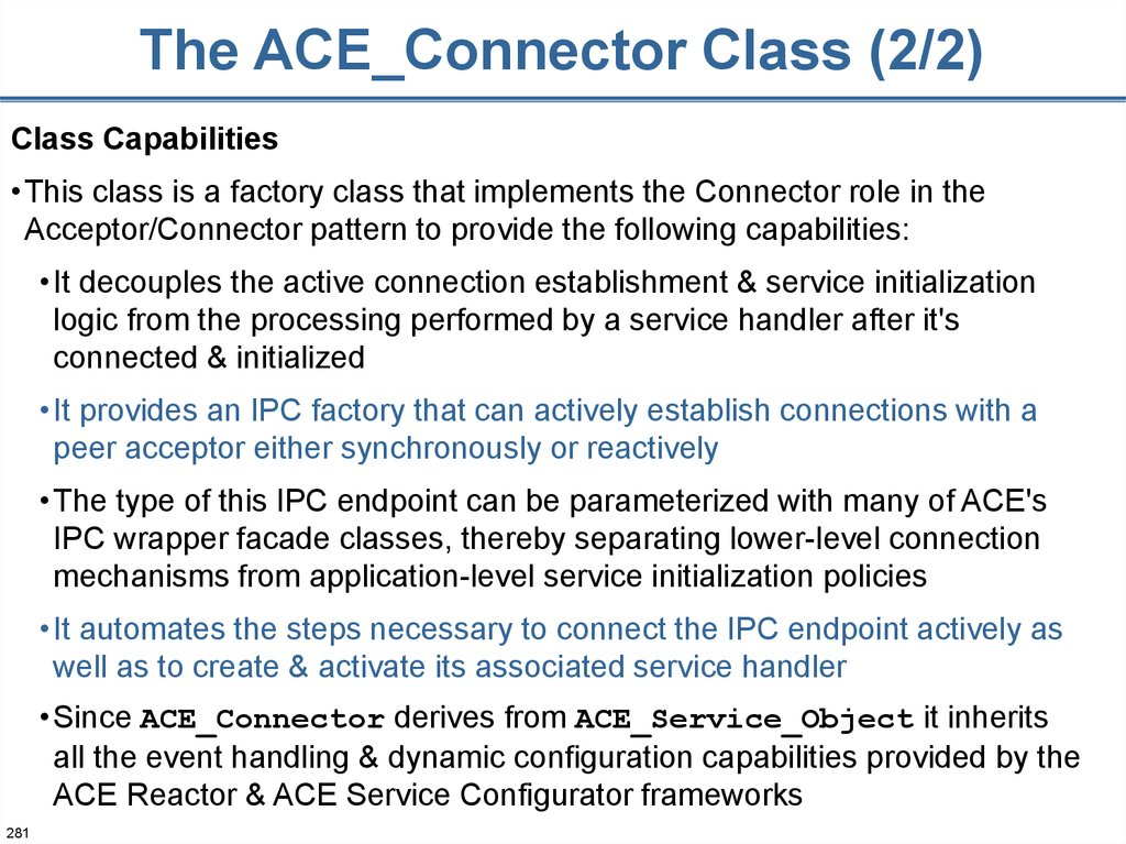 The ACE_Connector Class (2/2)