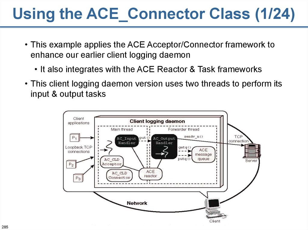 Using the ACE_Connector Class (1/24)