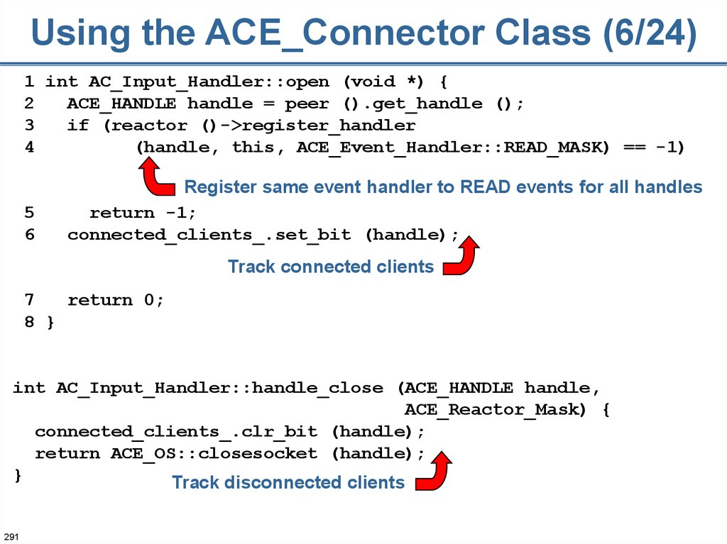 Using the ACE_Connector Class (6/24)