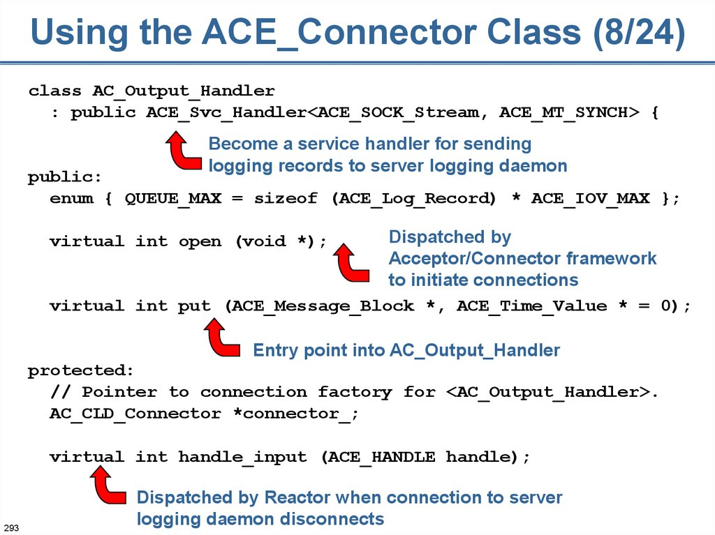 Using the ACE_Connector Class (8/24)