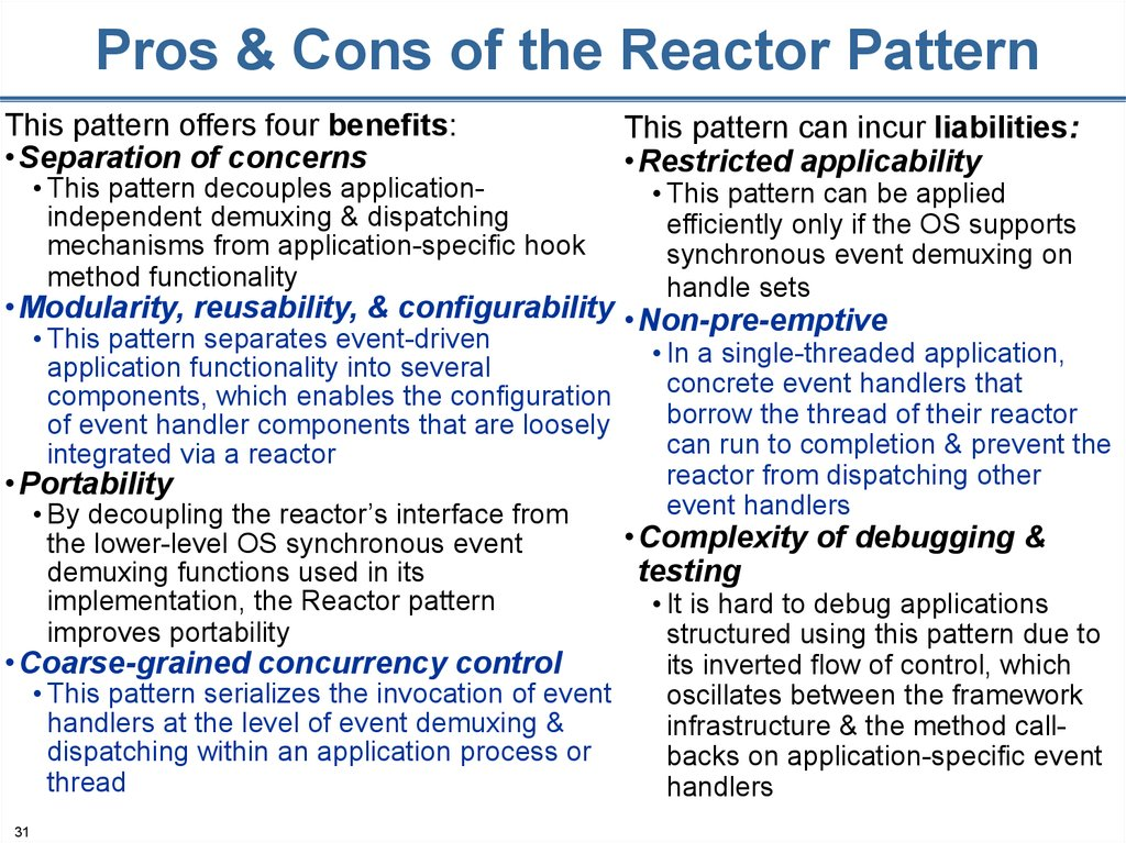 Pros & Cons of the Reactor Pattern