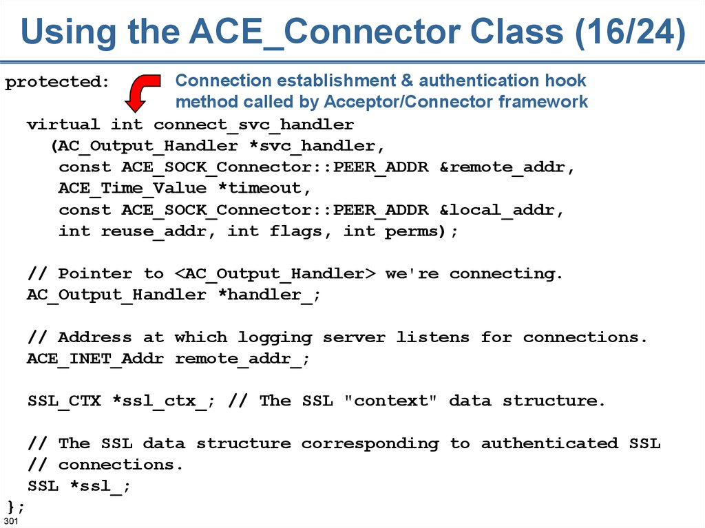 Using the ACE_Connector Class (16/24)