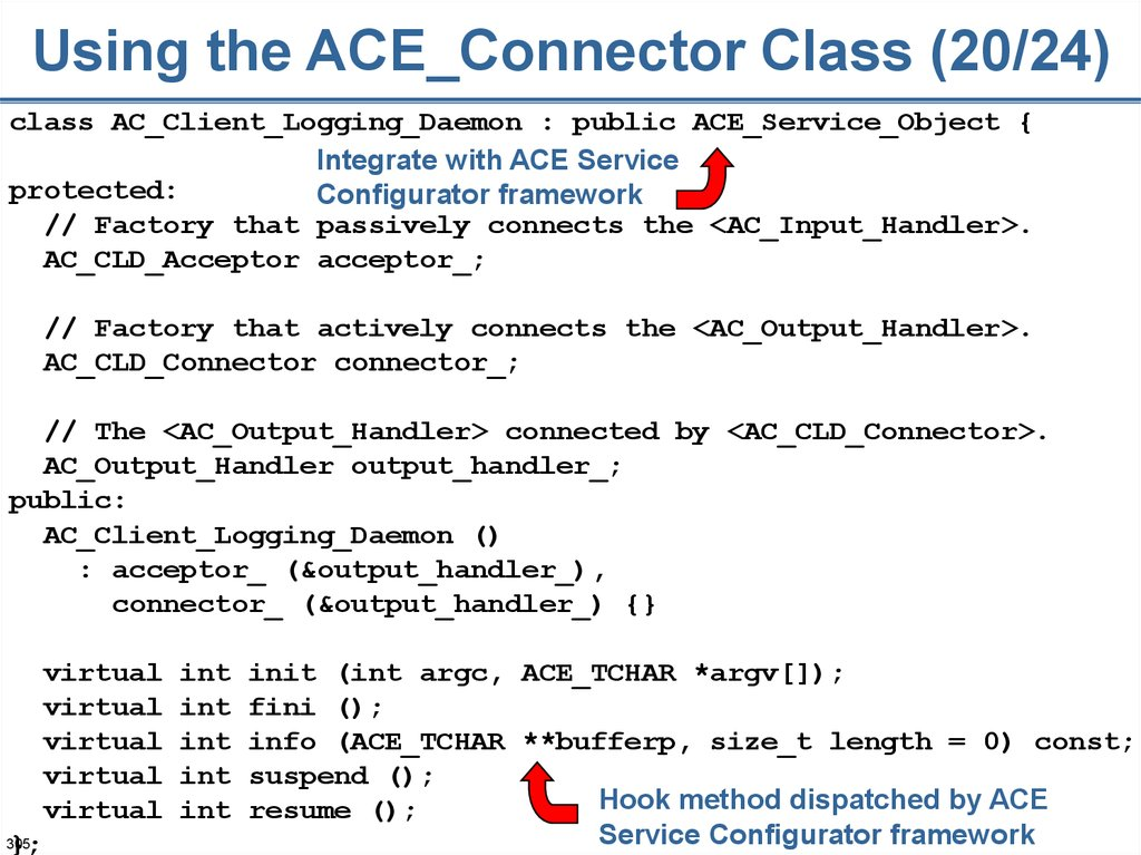 Using the ACE_Connector Class (20/24)