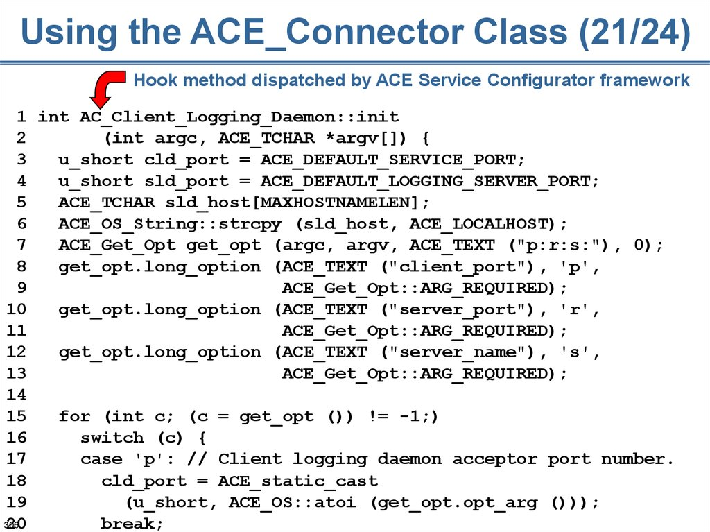Using the ACE_Connector Class (21/24)