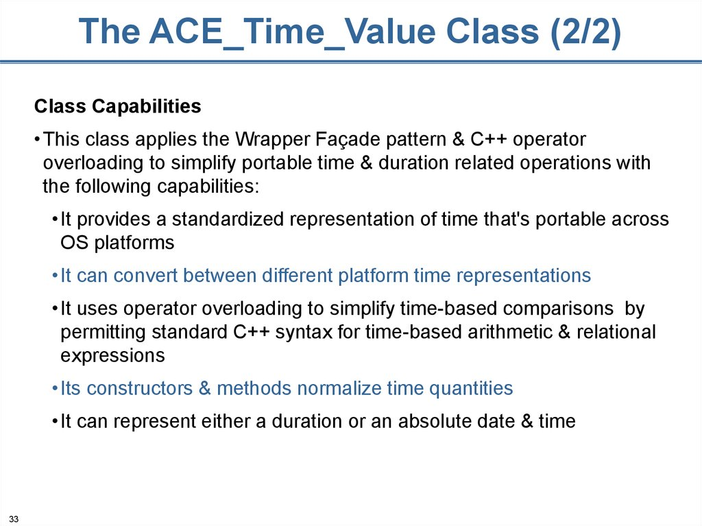 The ACE_Time_Value Class (2/2)