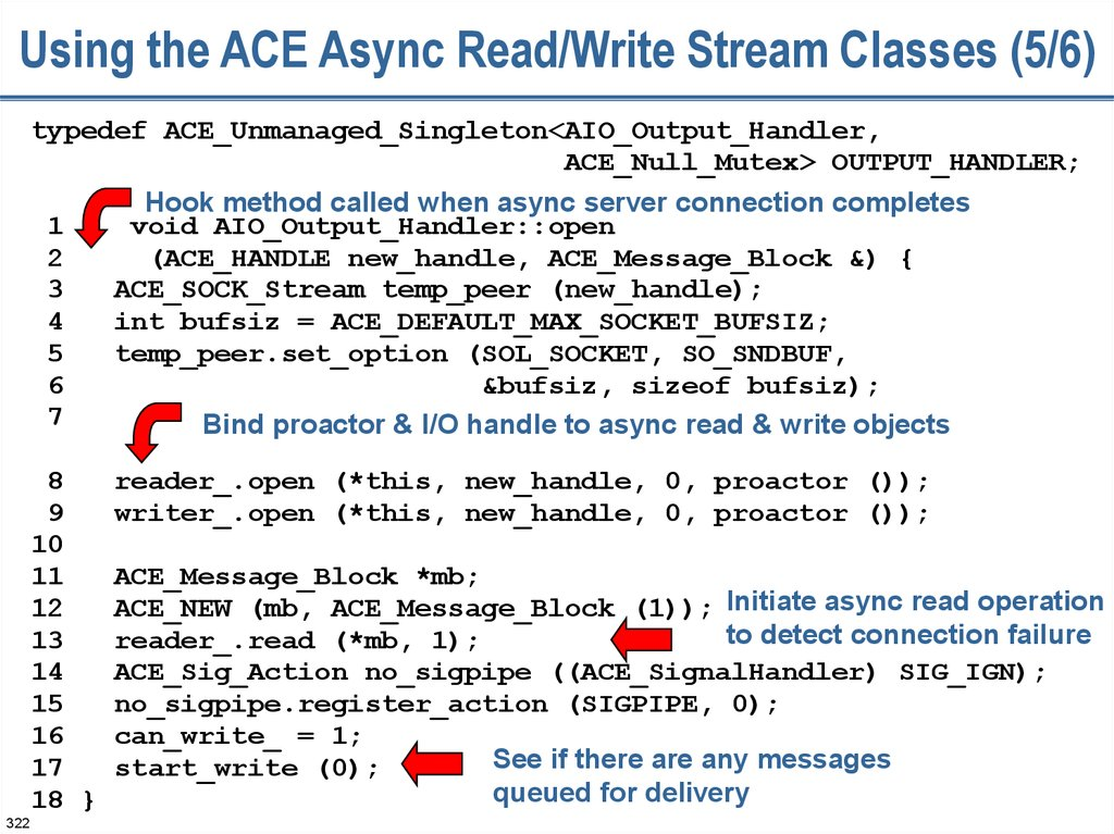 Using the ACE Async Read/Write Stream Classes (5/6)