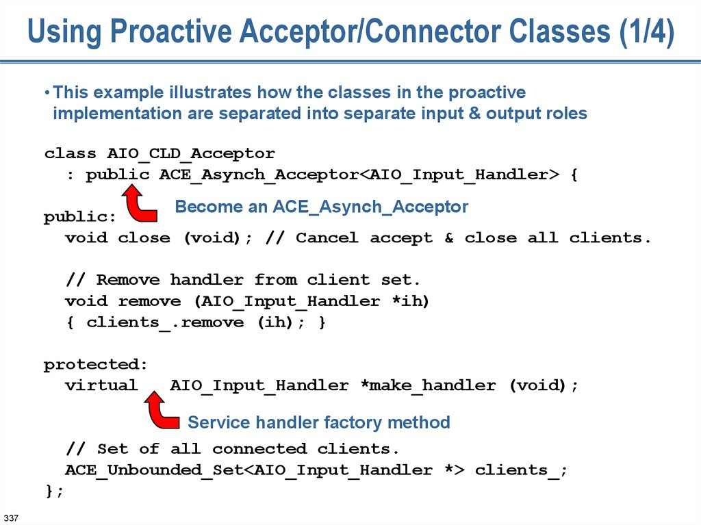 Using Proactive Acceptor/Connector Classes (1/4)