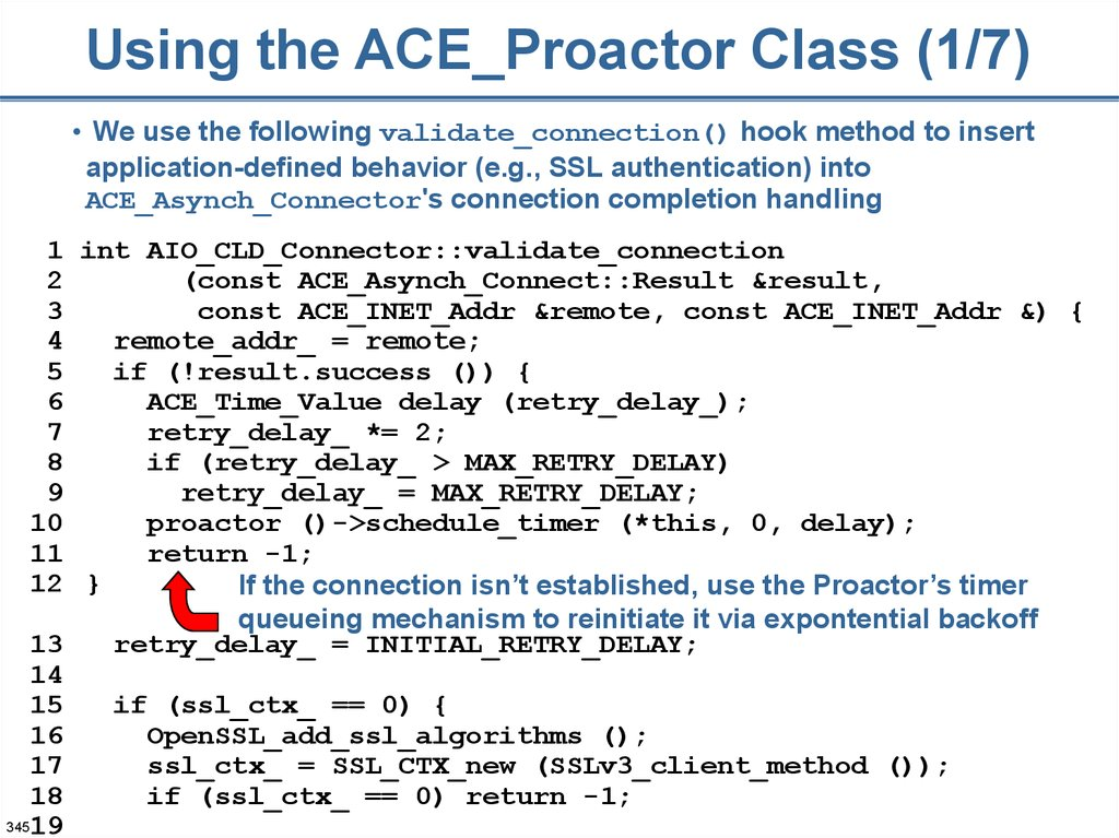 Using the ACE_Proactor Class (1/7)