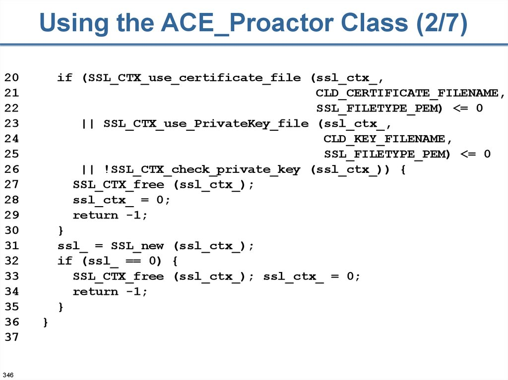 Using the ACE_Proactor Class (2/7)