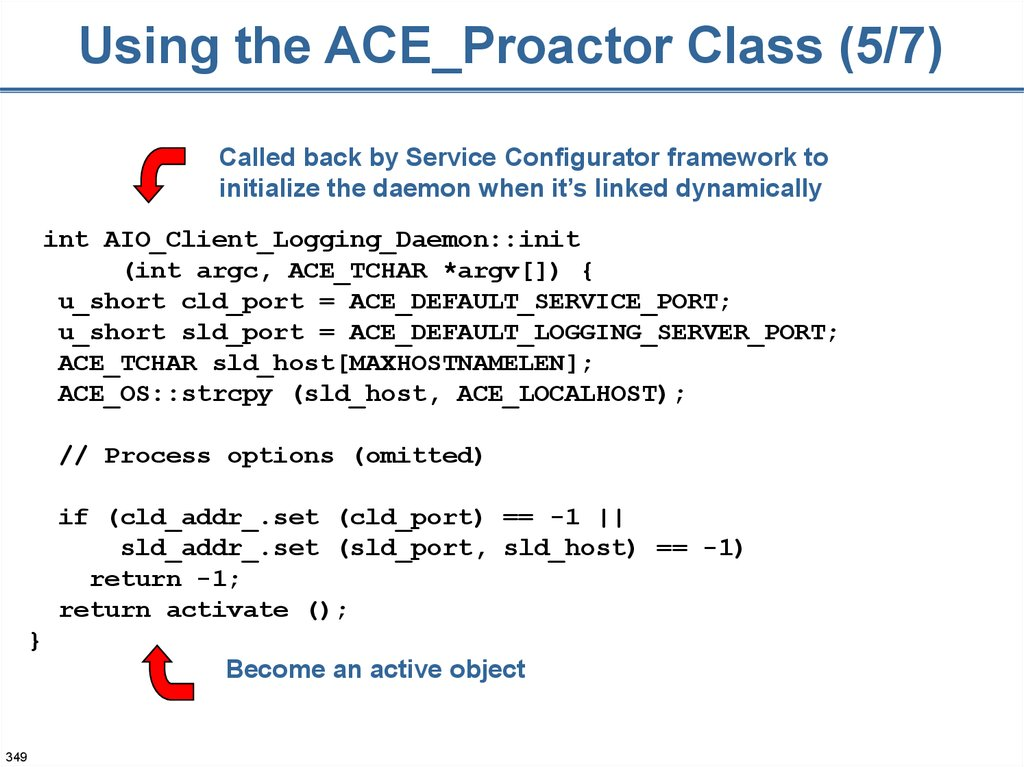 Using the ACE_Proactor Class (5/7)