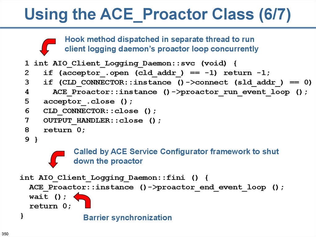 Using the ACE_Proactor Class (6/7)