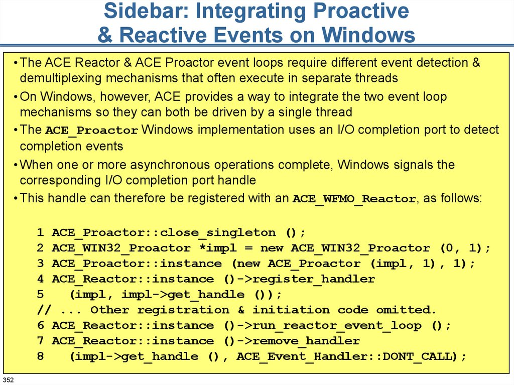 Sidebar: Integrating Proactive & Reactive Events on Windows