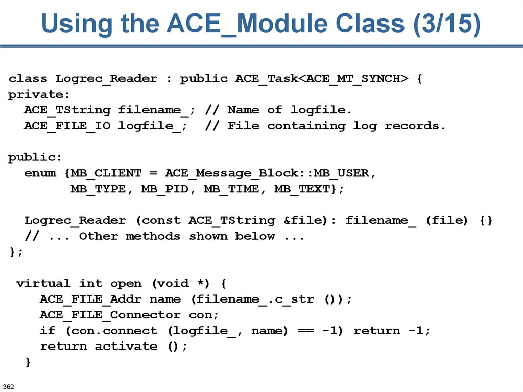 Using the ACE_Module Class (3/15)