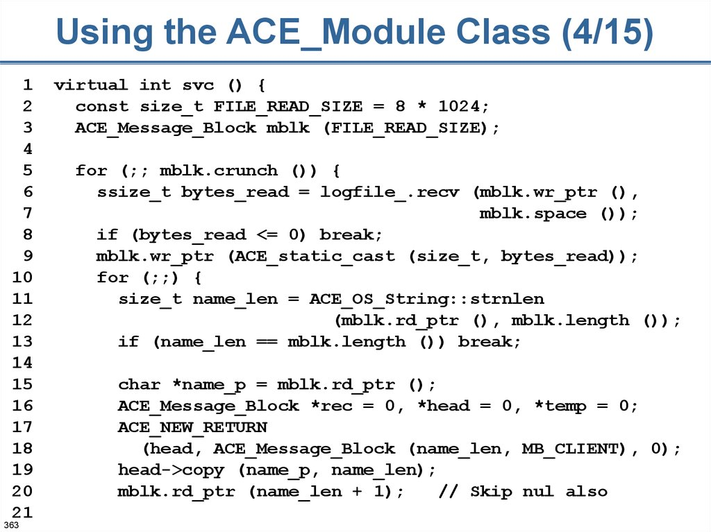 Using the ACE_Module Class (4/15)