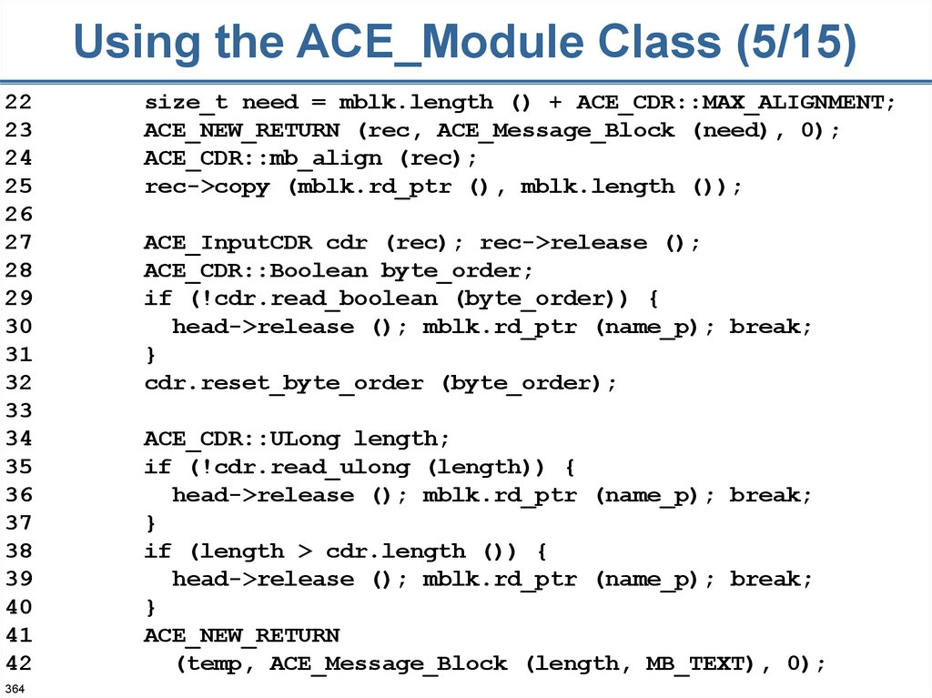Using the ACE_Module Class (5/15)