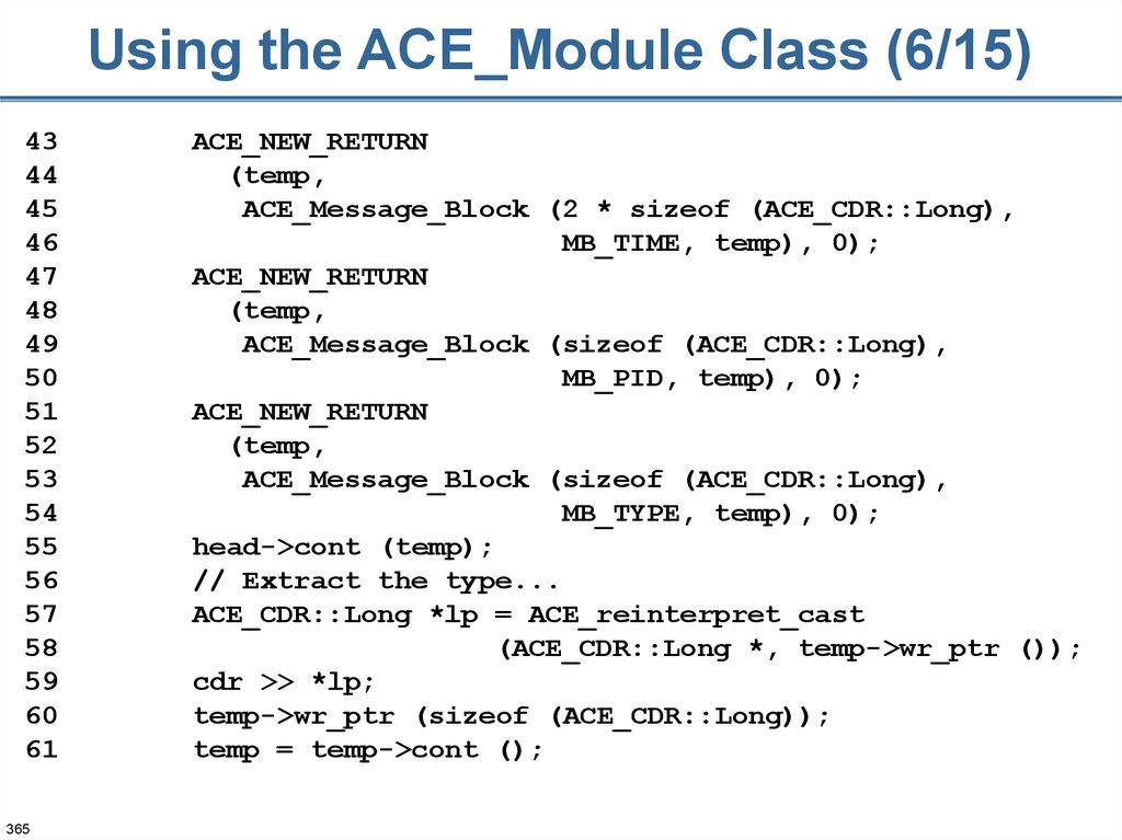 Using the ACE_Module Class (6/15)