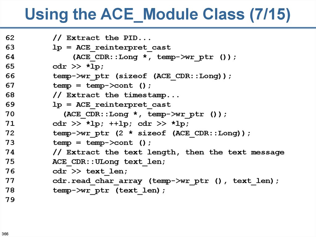 Using the ACE_Module Class (7/15)