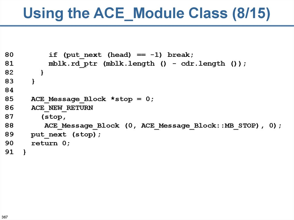 Using the ACE_Module Class (8/15)