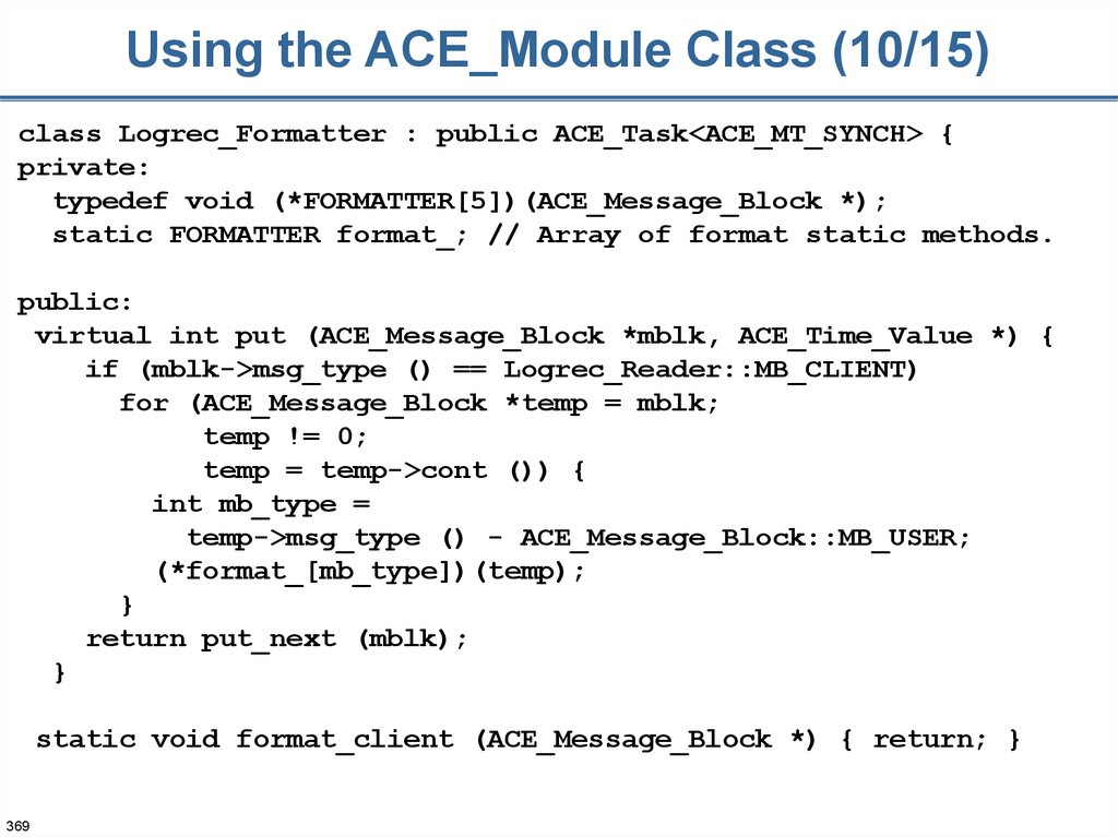 Using the ACE_Module Class (10/15)