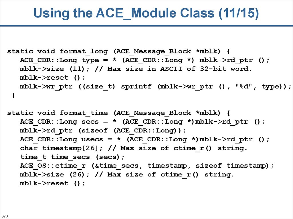 Using the ACE_Module Class (11/15)