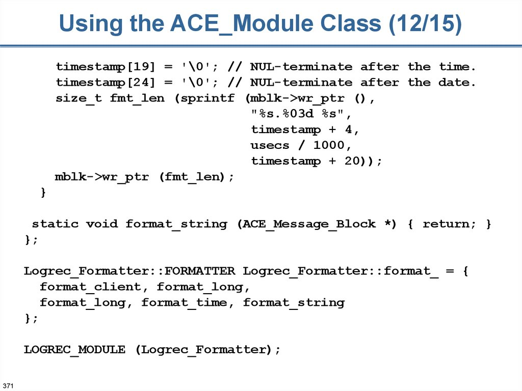 Using the ACE_Module Class (12/15)