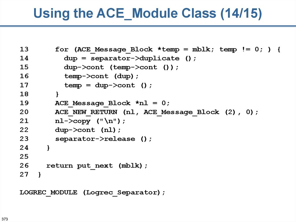 Using the ACE_Module Class (14/15)