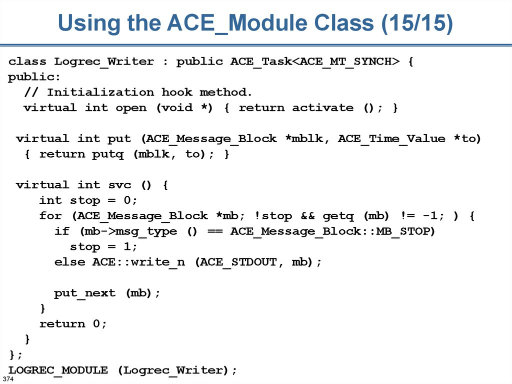 Using the ACE_Module Class (15/15)